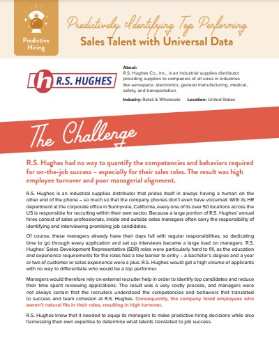 FY21 - R.S. Huges Case Study Screenshot