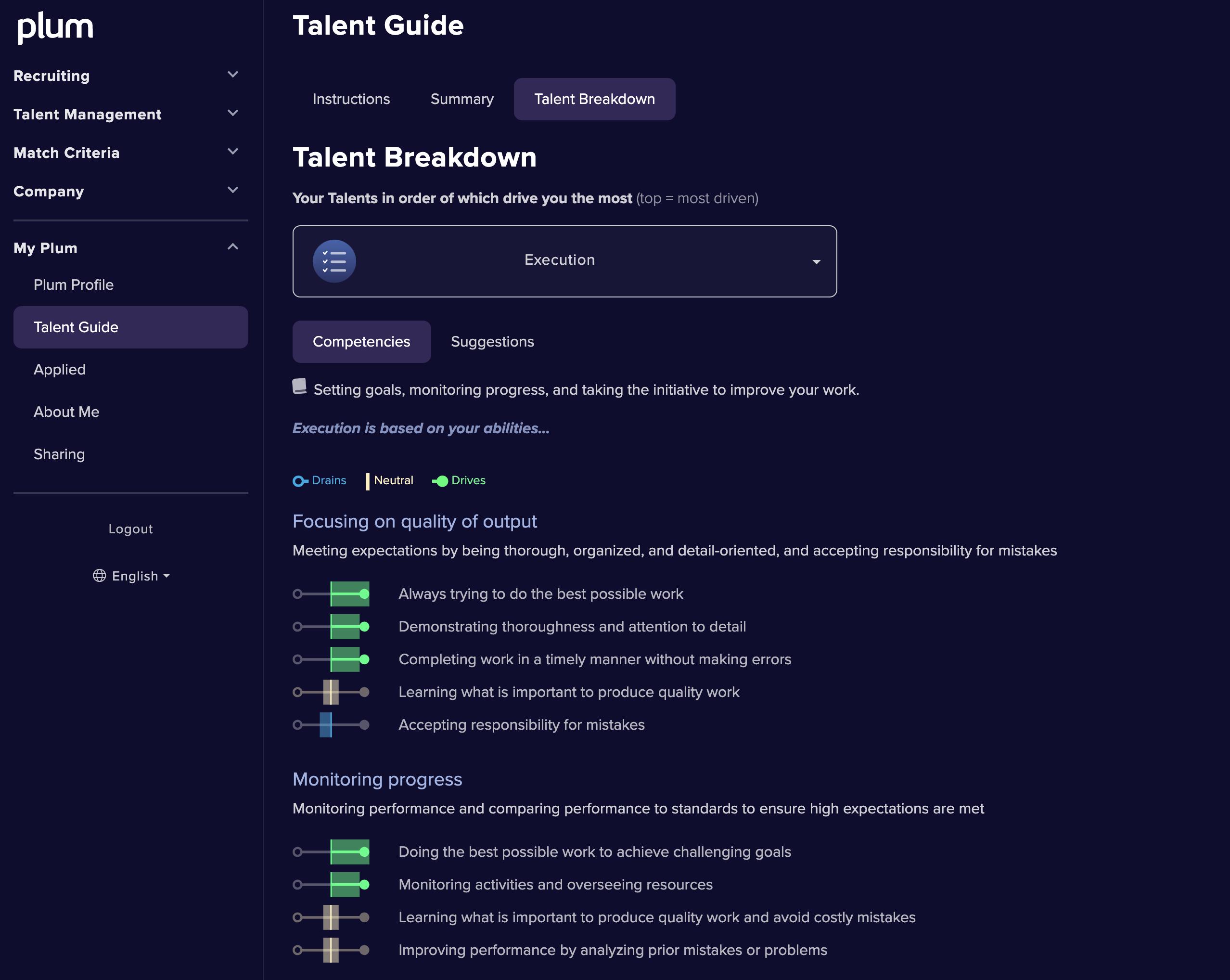 Plum Talent Guide screenshot